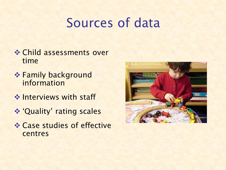 Child assessments over time Family background information Interviews with staff Quality rating scales Case studies of effective centres Sources of data