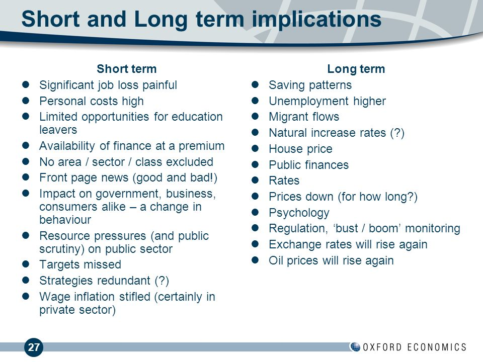 27 Short and Long term implications Short term Significant job loss painful Personal costs high Limited opportunities for education leavers Availability of finance at a premium No area / sector / class excluded Front page news (good and bad!) Impact on government, business, consumers alike – a change in behaviour Resource pressures (and public scrutiny) on public sector Targets missed Strategies redundant ( ) Wage inflation stifled (certainly in private sector) Long term Saving patterns Unemployment higher Migrant flows Natural increase rates ( ) House price Public finances Rates Prices down (for how long ) Psychology Regulation, bust / boom monitoring Exchange rates will rise again Oil prices will rise again