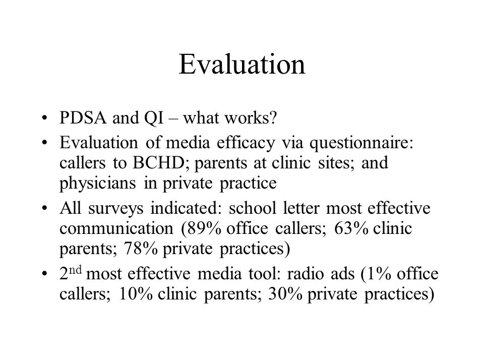 Evaluation PDSA and QI – what works.