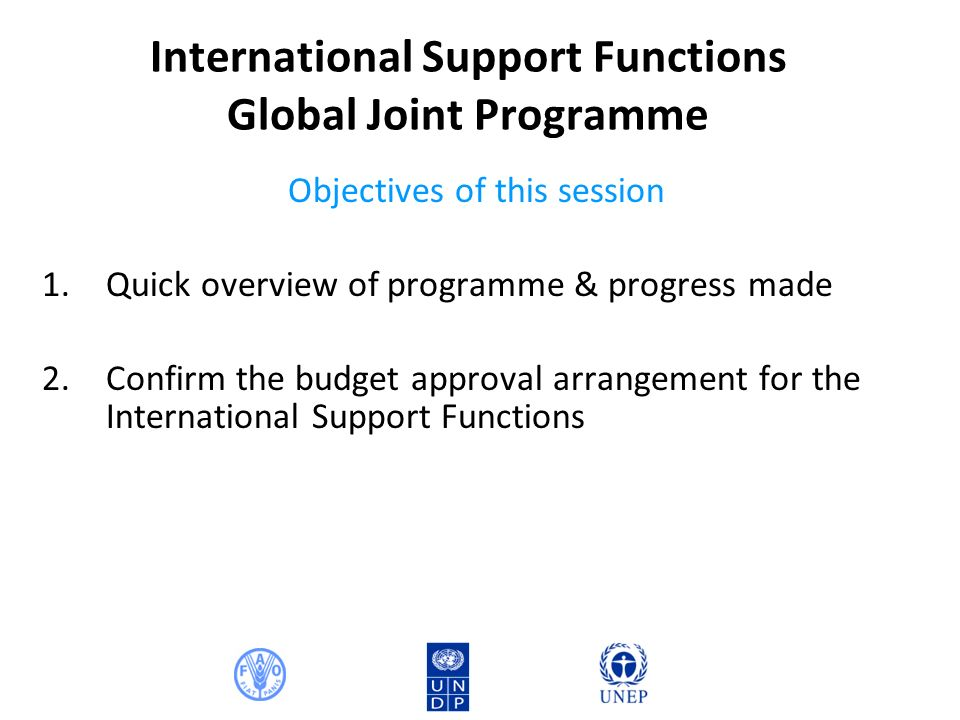 International Support Functions Global Joint Programme Objectives of this session 1.Quick overview of programme & progress made 2.Confirm the budget approval arrangement for the International Support Functions