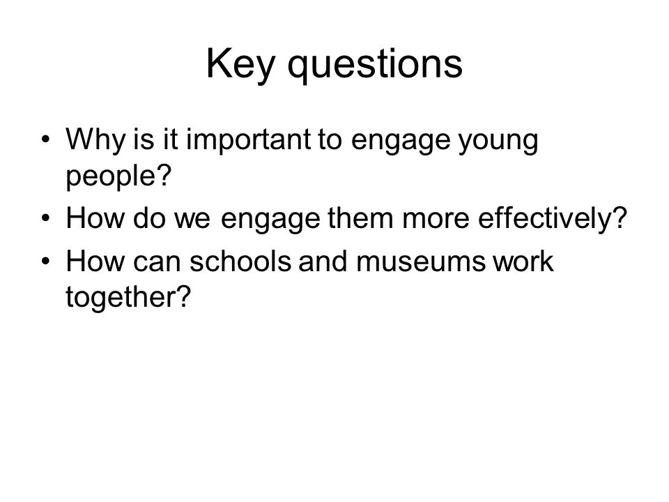 Key questions Why is it important to engage young people? How do we engage them more effectively? How can schools and museums work together?