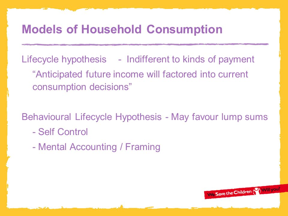 Models of Household Consumption Lifecycle hypothesis - Indifferent to kinds of payment Anticipated future income will factored into current consumption decisions Behavioural Lifecycle Hypothesis - May favour lump sums - Self Control - Mental Accounting / Framing