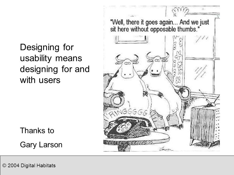 © 2004 Digital Habitats Designing for usability means designing for and with users Thanks to Gary Larson