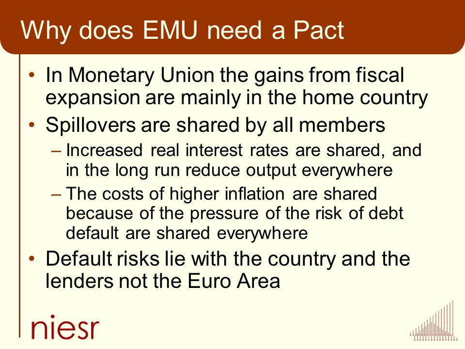 Why does EMU need a Pact In Monetary Union the gains from fiscal expansion are mainly in the home country Spillovers are shared by all members –Increased real interest rates are shared, and in the long run reduce output everywhere –The costs of higher inflation are shared because of the pressure of the risk of debt default are shared everywhere Default risks lie with the country and the lenders not the Euro Area