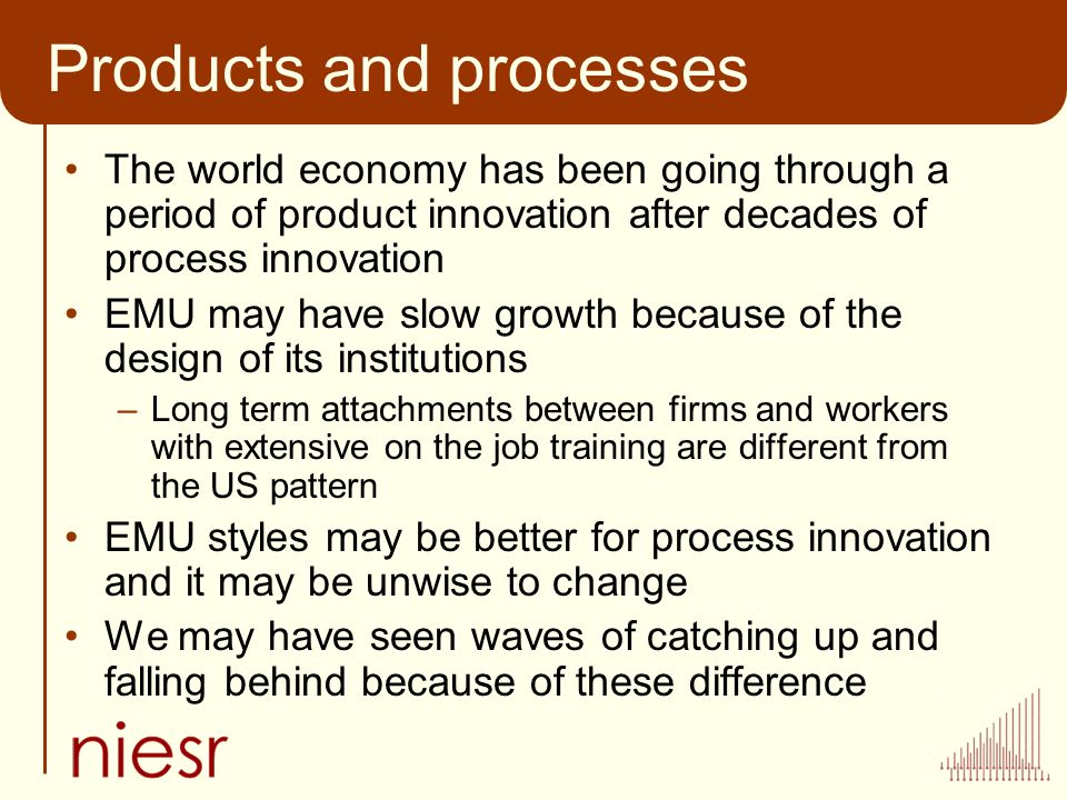 Products and processes The world economy has been going through a period of product innovation after decades of process innovation EMU may have slow growth because of the design of its institutions –Long term attachments between firms and workers with extensive on the job training are different from the US pattern EMU styles may be better for process innovation and it may be unwise to change We may have seen waves of catching up and falling behind because of these difference