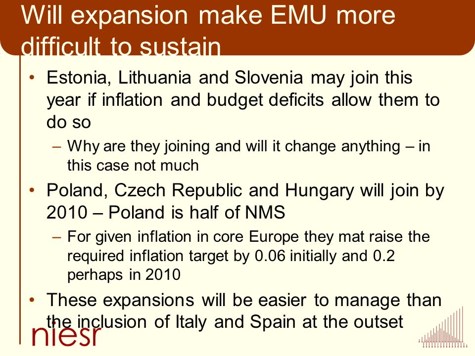 Will expansion make EMU more difficult to sustain Estonia, Lithuania and Slovenia may join this year if inflation and budget deficits allow them to do so –Why are they joining and will it change anything – in this case not much Poland, Czech Republic and Hungary will join by 2010 – Poland is half of NMS –For given inflation in core Europe they mat raise the required inflation target by 0.06 initially and 0.2 perhaps in 2010 These expansions will be easier to manage than the inclusion of Italy and Spain at the outset
