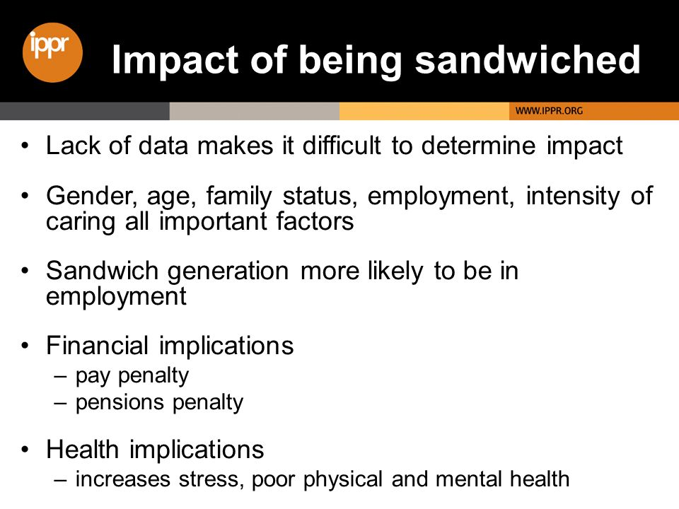 Impact of being sandwiched Lack of data makes it difficult to determine impact Gender, age, family status, employment, intensity of caring all importa