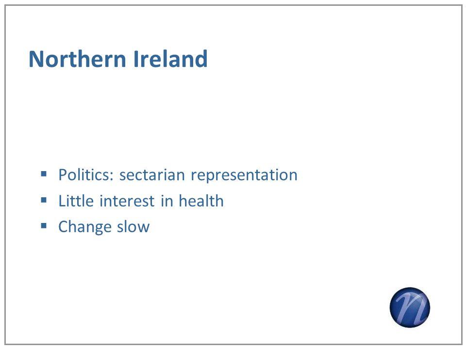Northern Ireland Politics: sectarian representation Little interest in health Change slow