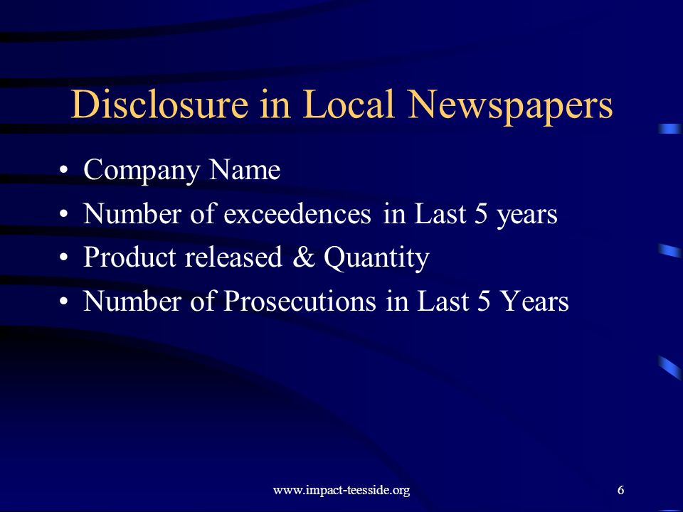 Disclosure in Local Newspapers Company Name Number of exceedences in Last 5 years Product released & Quantity Number of Prosecutions in Last 5 Years