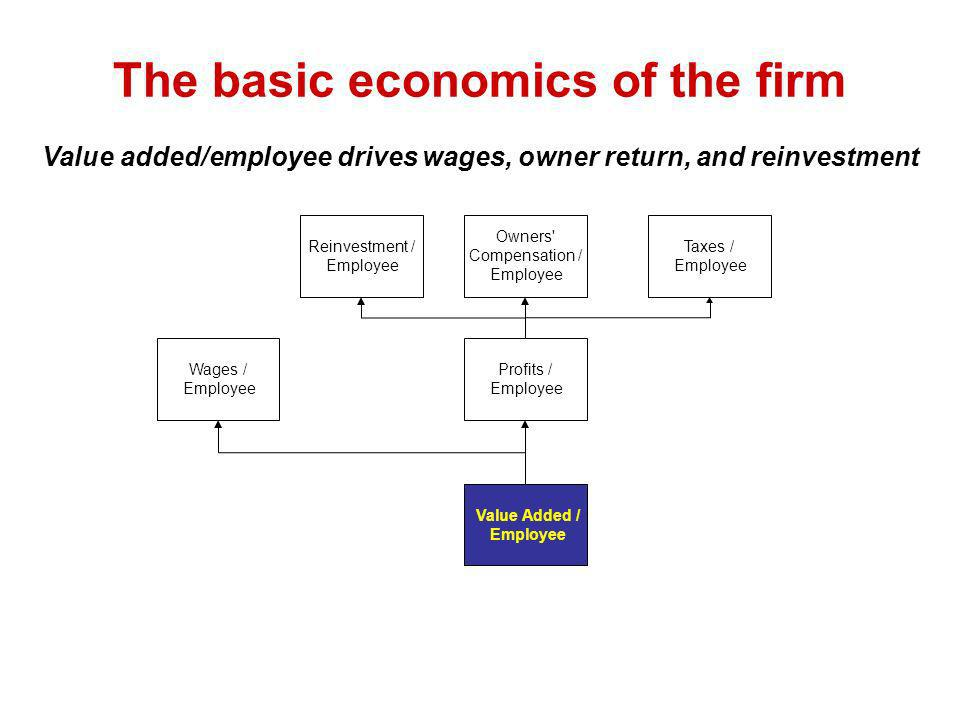 The basic economics of the firm Value added/employee drives wages, owner return, and reinvestment Wages / Employee Profits / Employee Value Added / Employee Reinvestment / Employee Owners Compensation / Employee Taxes / Employee