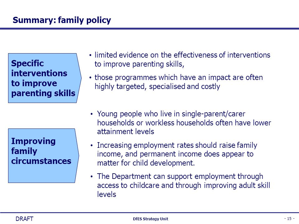 - 15 - DfES Strategy Unit DRAFT Summary: family policy Improving family circumstances Specific interventions to improve parenting skills Young people