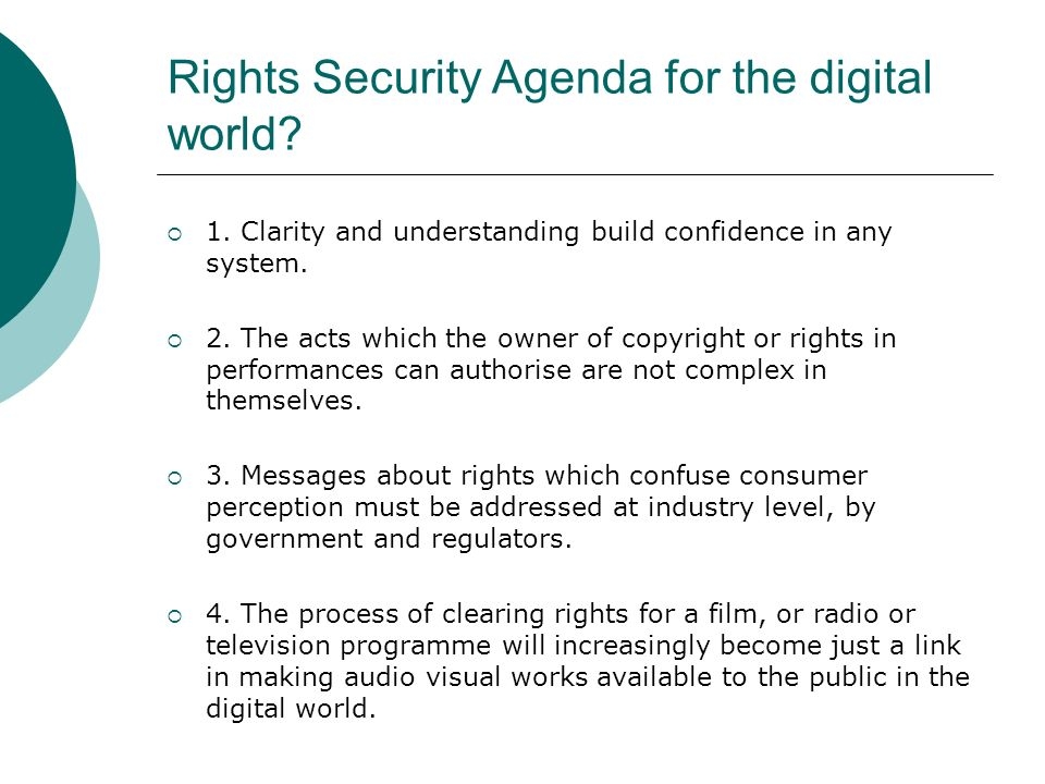 Rights Security Agenda for the digital world. 1.