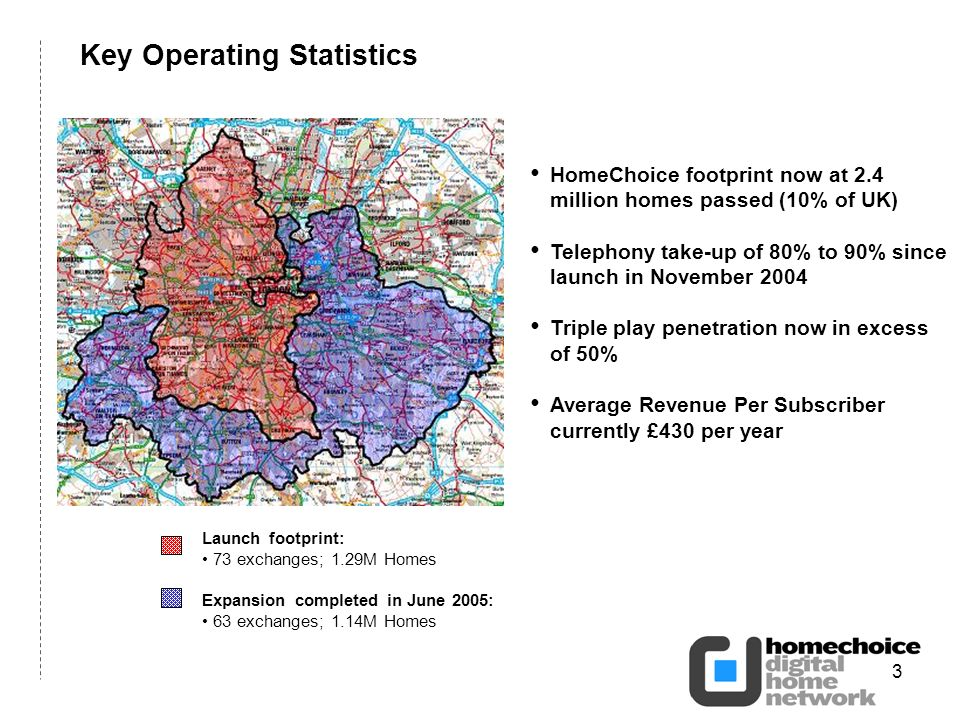 3 Key Operating Statistics HomeChoice footprint now at 2.4 million homes passed (10% of UK) Telephony take-up of 80% to 90% since launch in November 2004 Triple play penetration now in excess of 50% Average Revenue Per Subscriber currently £430 per year Launch footprint: 73 exchanges; 1.29M Homes Expansion completed in June 2005: 63 exchanges; 1.14M Homes