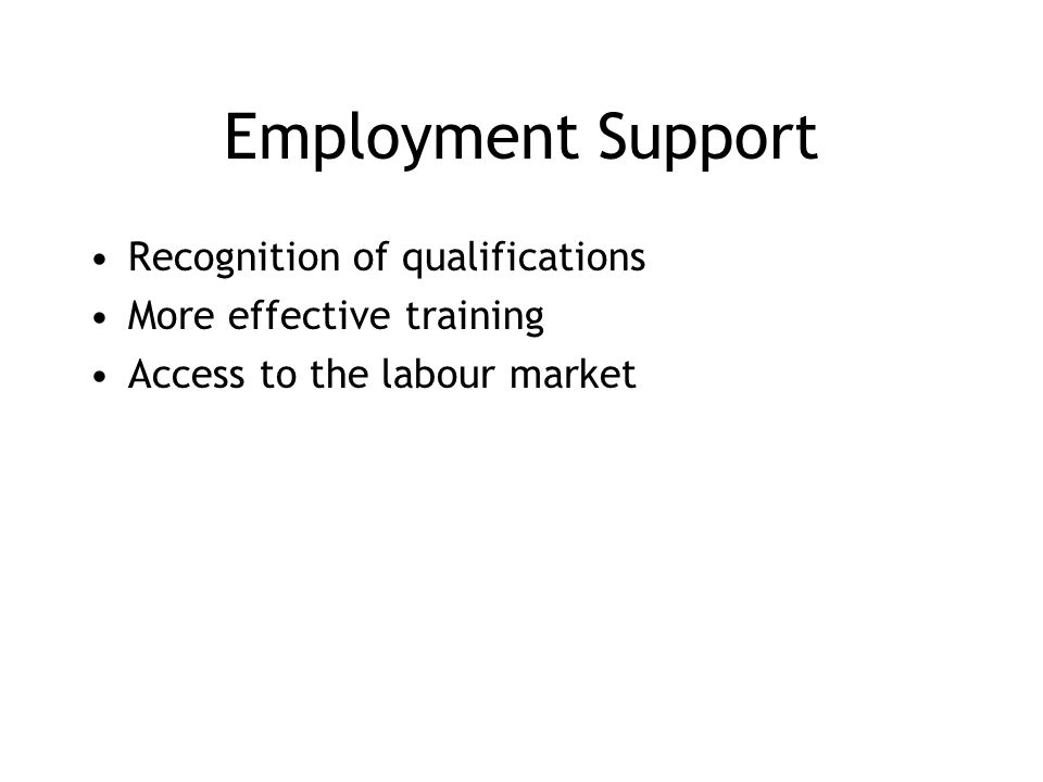 Employment Support Recognition of qualifications More effective training Access to the labour market
