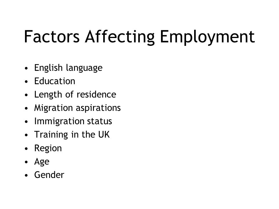 Factors Affecting Employment English language Education Length of residence Migration aspirations Immigration status Training in the UK Region Age Gender
