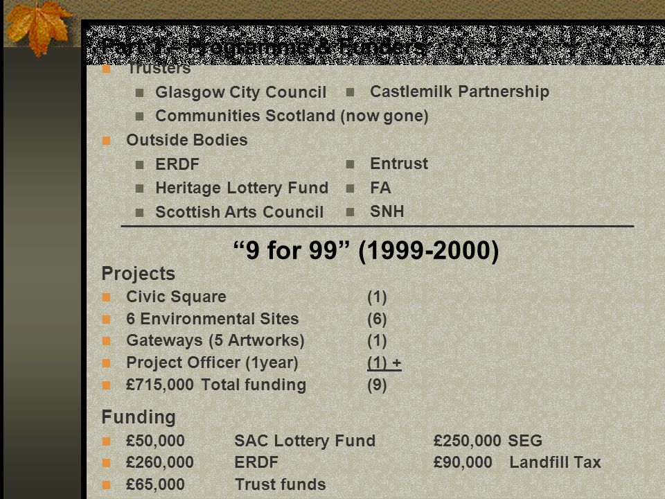 Part 3 – Programme & Funders Trusters Glasgow City Council Communities Scotland (now gone) Outside Bodies ERDF Heritage Lottery Fund Scottish Arts Cou
