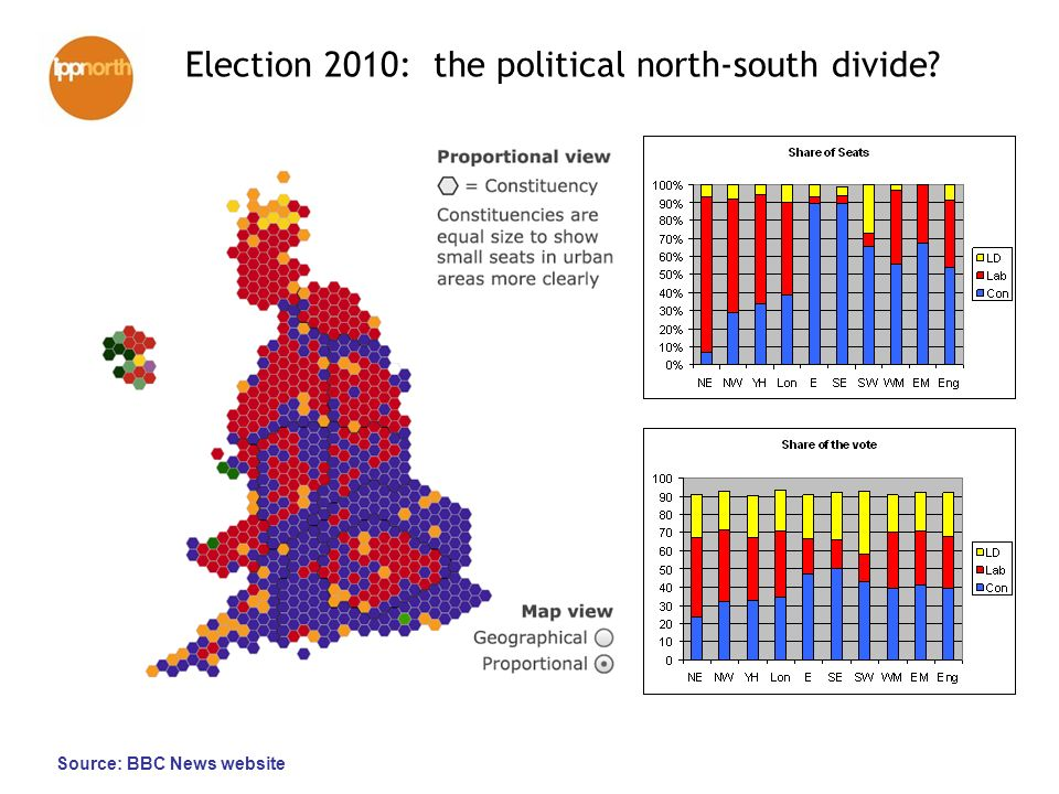 Election 2010: the political north-south divide Source: BBC News website