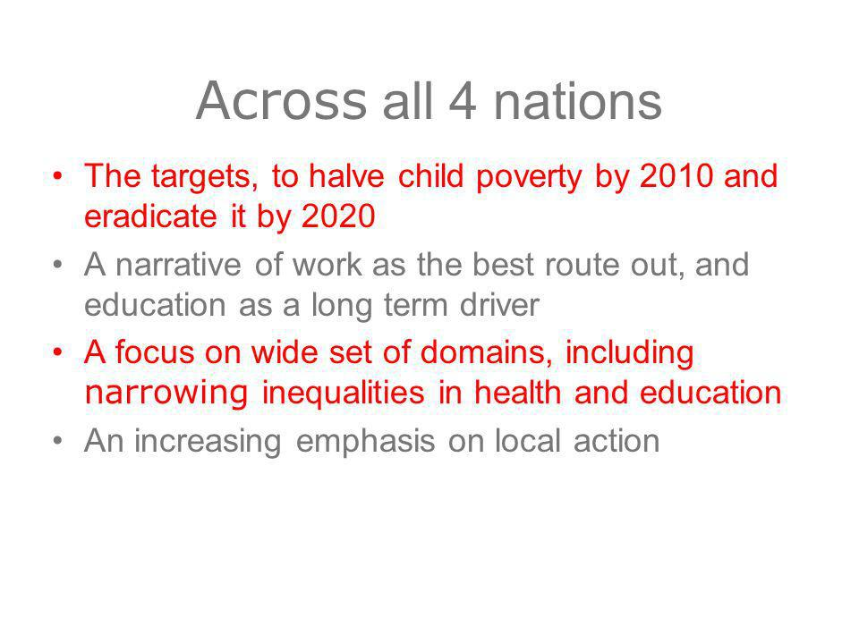 Across all 4 nations The targets, to halve child poverty by 2010 and eradicate it by 2020 A narrative of work as the best route out, and education as