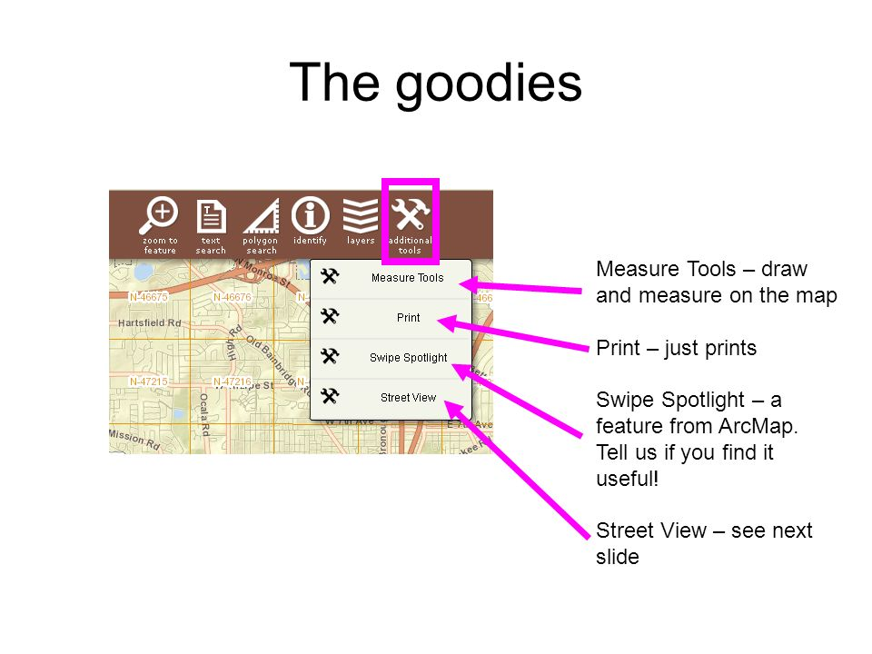 The goodies Measure Tools – draw and measure on the map Print – just prints Swipe Spotlight – a feature from ArcMap. Tell us if you find it useful! St