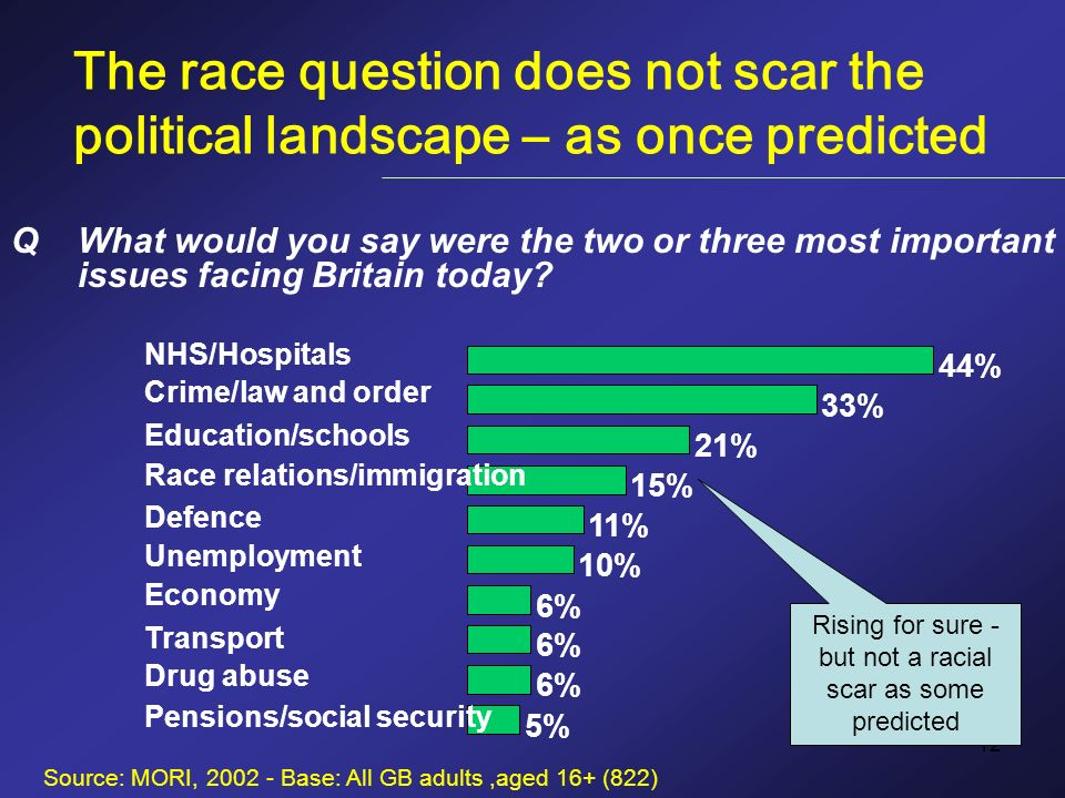 12 The race question does not scar the political landscape – as once predicted 44% NHS/Hospitals 33% Crime/law and order 21% Education/schools 15% Race relations/immigration 11% Defence 10% Unemployment 6% Economy 6% Transport 6% Drug abuse 5% Pensions/social security Source: MORI, 2002 - Base: All GB adults,aged 16+ (822) QWhat would you say were the two or three most important issues facing Britain today.
