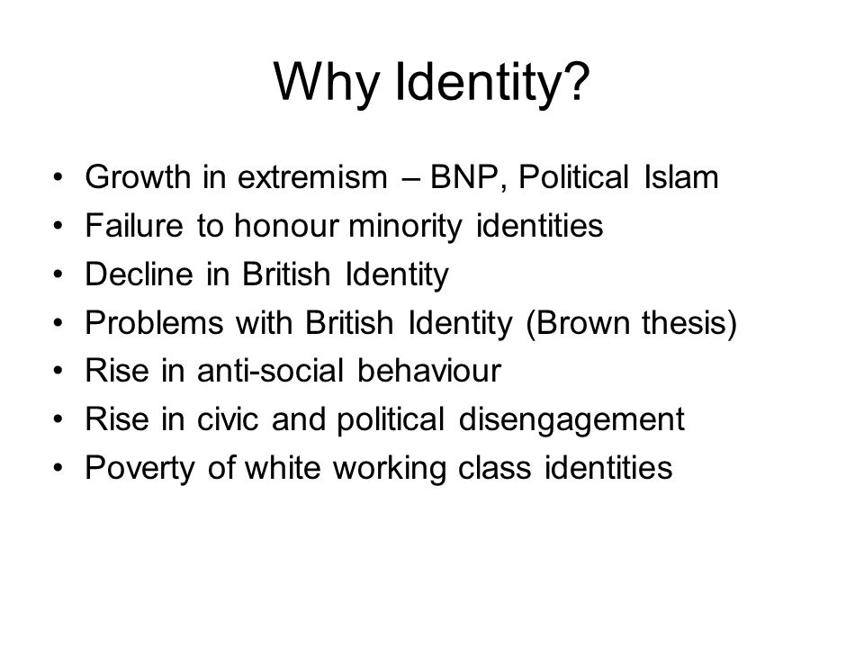 Why Identity? Growth in extremism – BNP, Political Islam Failure to honour minority identities Decline in British Identity Problems with British Ident