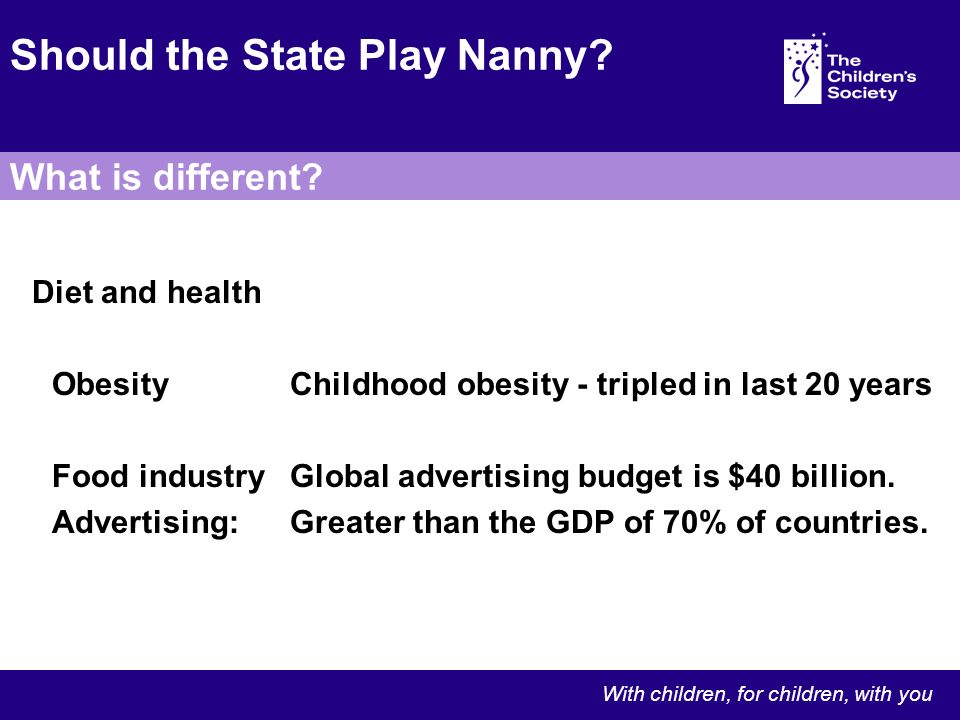 Diet and health ObesityChildhood obesity - tripled in last 20 years Food industryGlobal advertising budget is $40 billion.