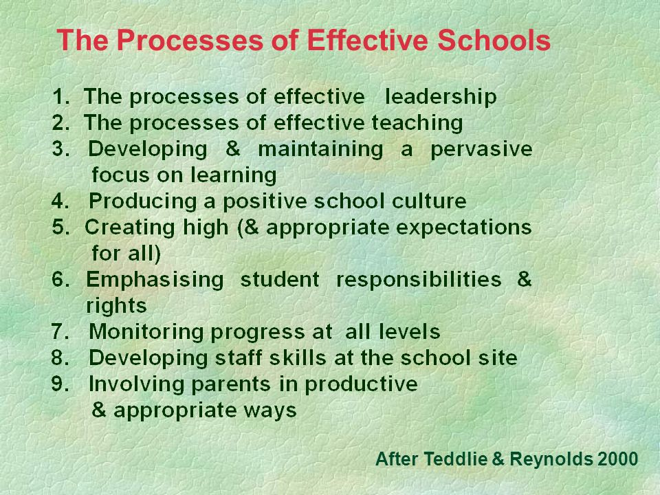 The Processes of Effective Schools After Teddlie & Reynolds 2000