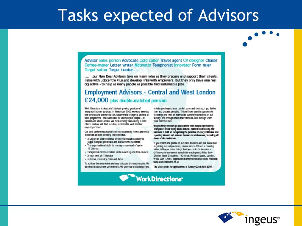 Tasks expected of Advisors