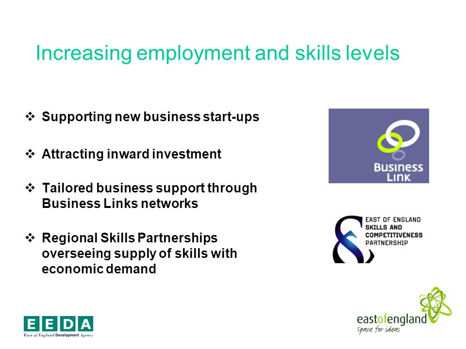 Increasing employment and skills levels Supporting new business start-ups Attracting inward investment Tailored business support through Business Links networks Regional Skills Partnerships overseeing supply of skills with economic demand