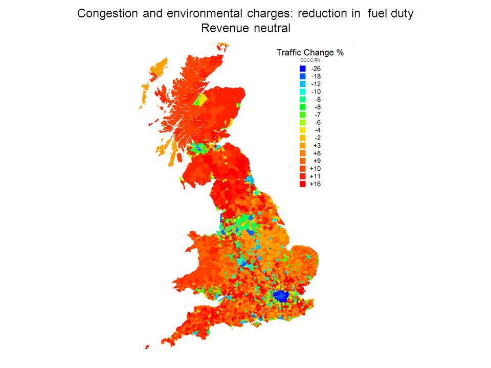 Congestion and environmental charges: reduction in fuel duty Revenue neutral