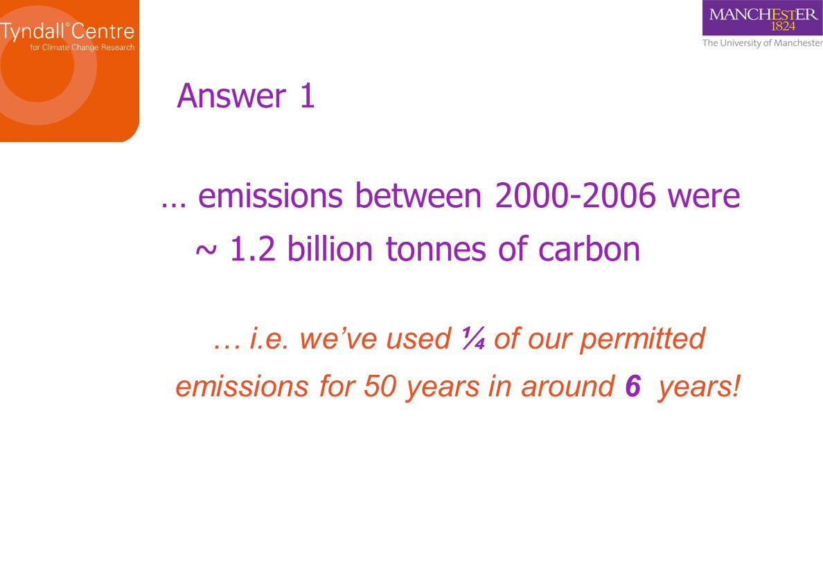 … emissions between 2000-2006 were ~ 1.2 billion tonnes of carbon … i.e.