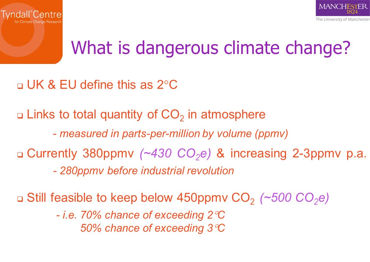 What is dangerous climate change? UK & EU define this as 2 C Links to total quantity of CO 2 in atmosphere - measured in parts-per-million by volume (