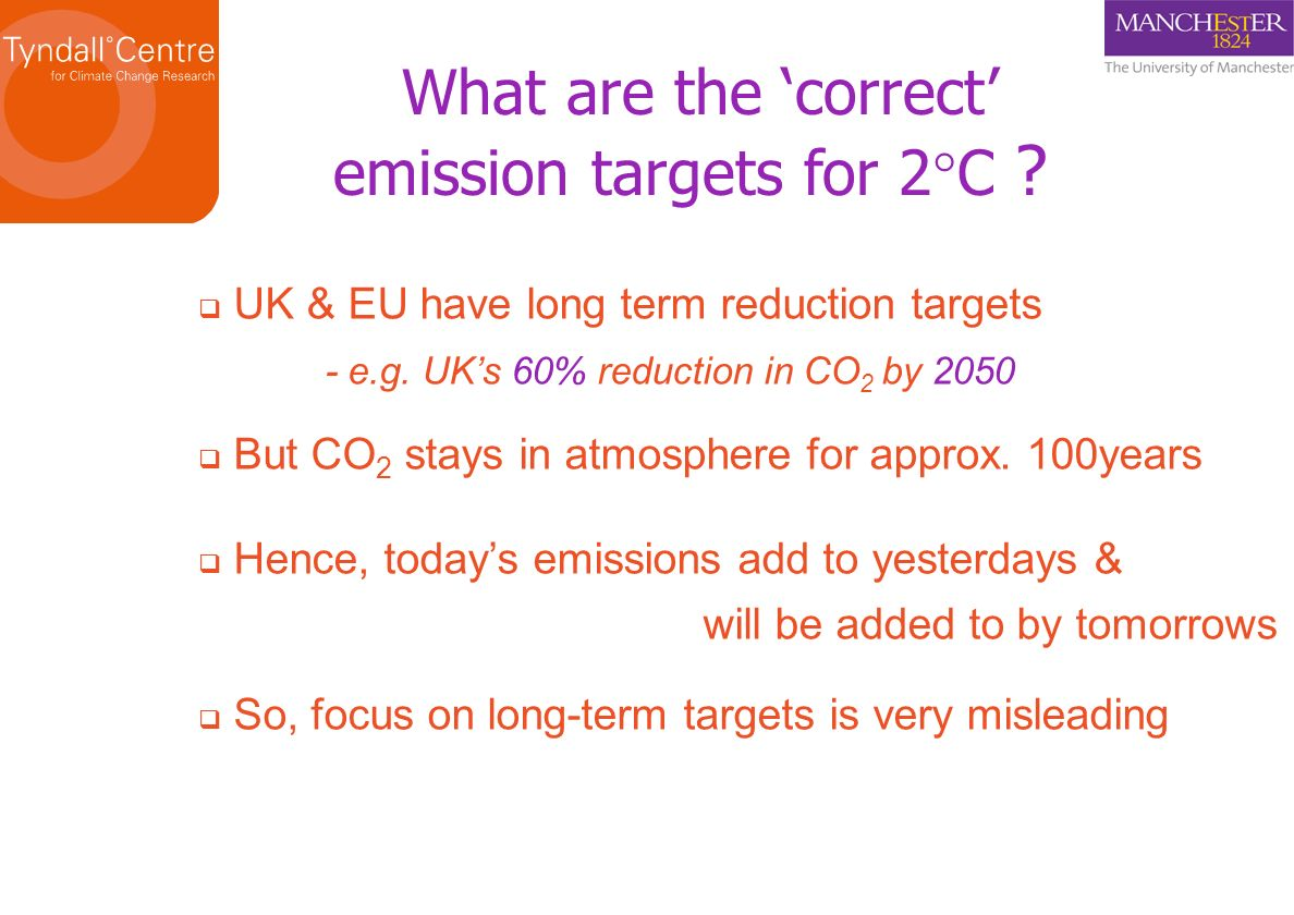 What are the correct emission targets for 2 C ? UK & EU have long term reduction targets - e.g. UKs 60% reduction in CO 2 by 2050 But CO 2 stays in at