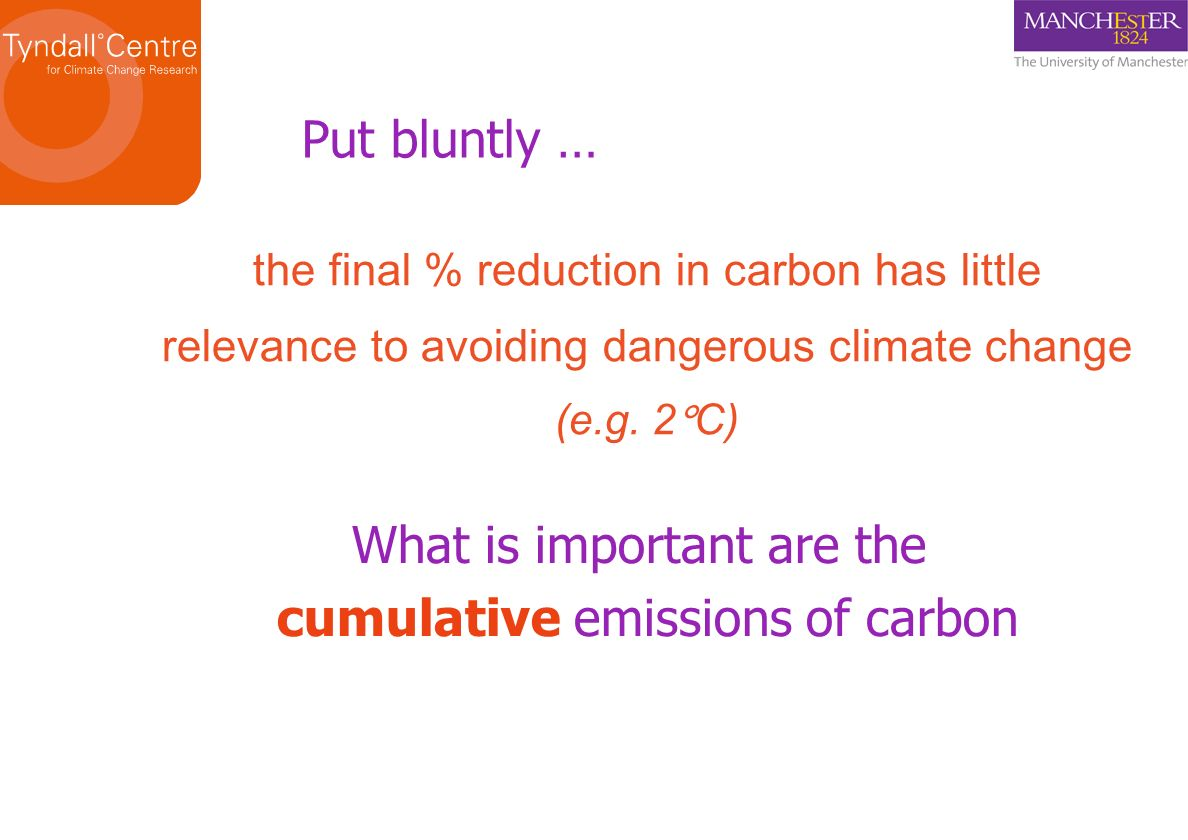 the final % reduction in carbon has little relevance to avoiding dangerous climate change (e.g.