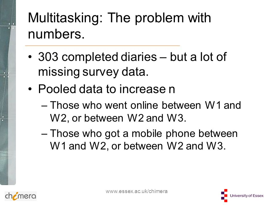www.essex.ac.uk/chimera Multitasking: The problem with numbers.
