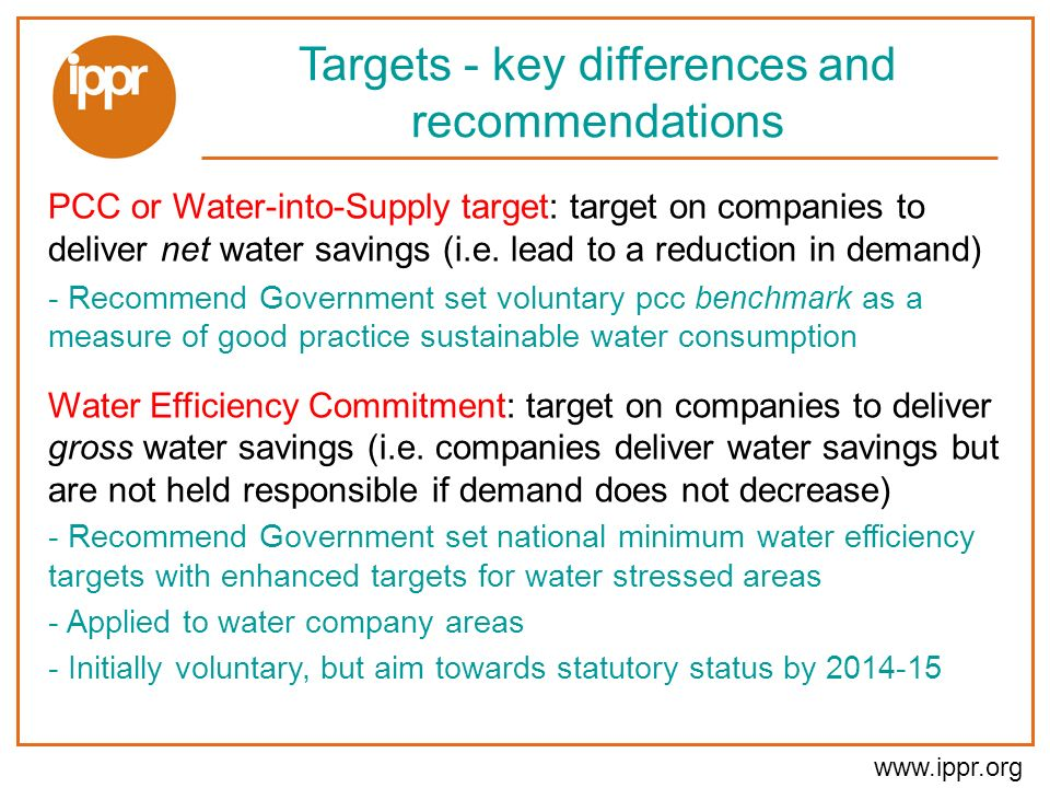 www.ippr.org Targets - key differences and recommendations PCC or Water-into-Supply target: target on companies to deliver net water savings (i.e.