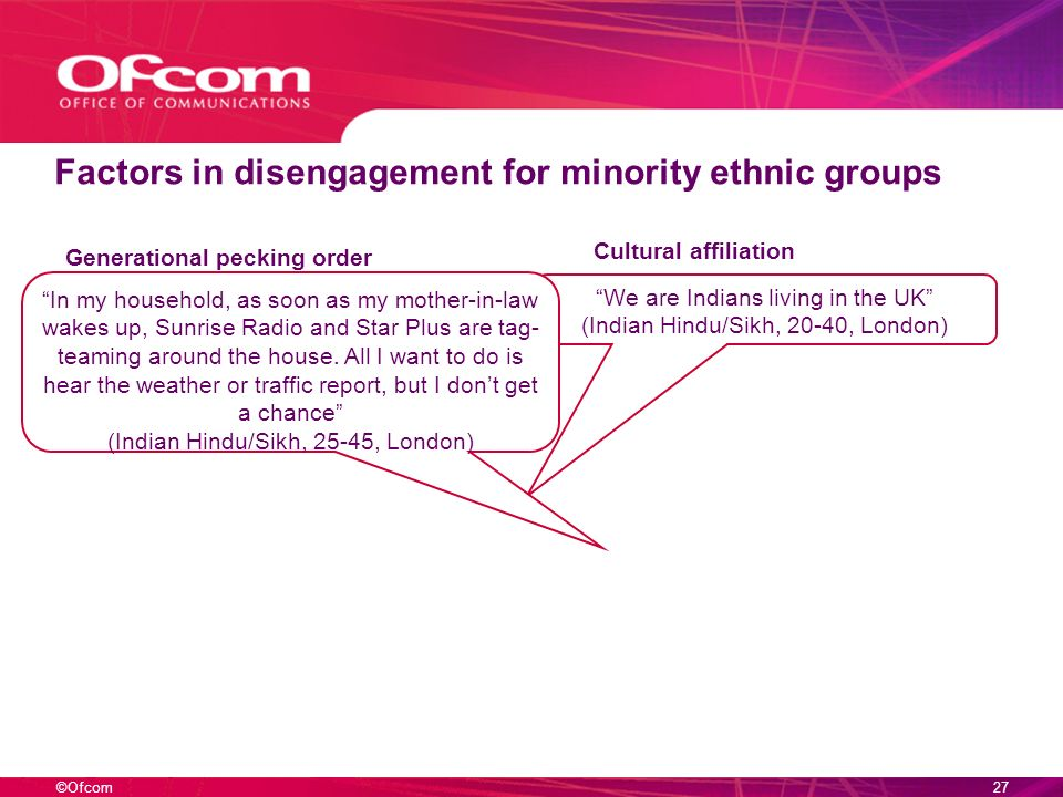 ©Ofcom26 Factors in disengagement for minority ethnic groups We are Indians living in the UK (Indian Hindu/Sikh, 20-40, London) Cultural affiliation