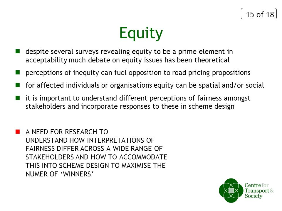 15 of 18 Equity despite several surveys revealing equity to be a prime element in acceptability much debate on equity issues has been theoretical perceptions of inequity can fuel opposition to road pricing propositions for affected individuals or organisations equity can be spatial and/or social it is important to understand different perceptions of fairness amongst stakeholders and incorporate responses to these in scheme design A NEED FOR RESEARCH TO UNDERSTAND HOW INTERPRETATIONS OF FAIRNESS DIFFER ACROSS A WIDE RANGE OF STAKEHOLDERS AND HOW TO ACCOMMODATE THIS INTO SCHEME DESIGN TO MAXIMISE THE NUMER OF WINNERS