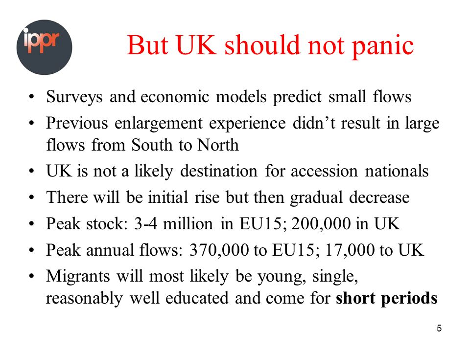 5 But UK should not panic Surveys and economic models predict small flows Previous enlargement experience didnt result in large flows from South to North UK is not a likely destination for accession nationals There will be initial rise but then gradual decrease Peak stock: 3-4 million in EU15; 200,000 in UK Peak annual flows: 370,000 to EU15; 17,000 to UK Migrants will most likely be young, single, reasonably well educated and come for short periods