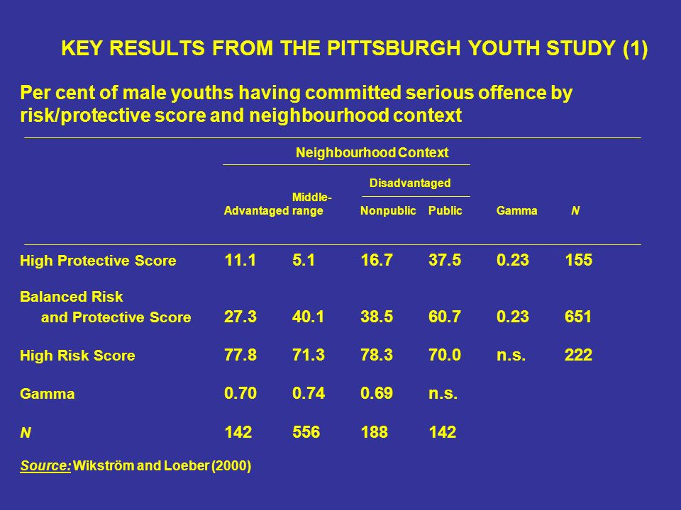 KEY RESULTS FROM THE PITTSBURGH YOUTH STUDY (1) Per cent of male youths having committed serious offence by risk/protective score and neighbourhood context Neighbourhood Context Disadvantaged Middle- AdvantagedrangeNonpublicPublicGamma N High Protective Score Balanced Risk and Protective Score High Risk Score n.s.222 Gamma n.s.