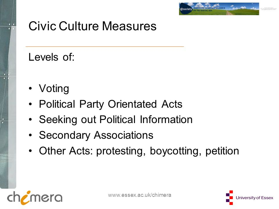 Civic Culture Measures Levels of: Voting Political Party Orientated Acts Seeking out Political Information Secondary Associations Other Acts: protesting, boycotting, petition