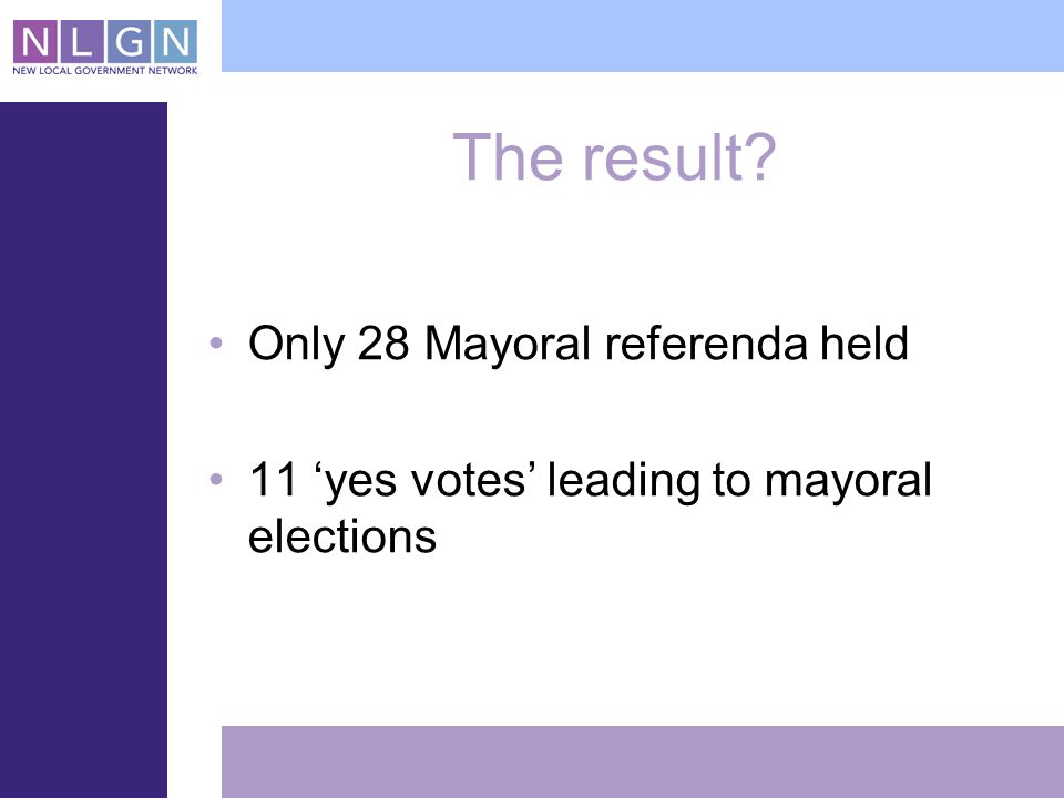 The result Only 28 Mayoral referenda held 11 yes votes leading to mayoral elections