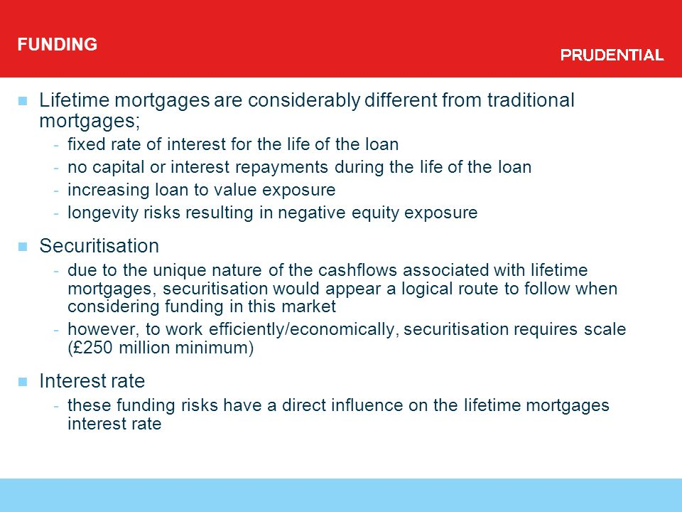 FUNDING Lifetime mortgages are considerably different from traditional mortgages; -fixed rate of interest for the life of the loan -no capital or interest repayments during the life of the loan -increasing loan to value exposure -longevity risks resulting in negative equity exposure Securitisation -due to the unique nature of the cashflows associated with lifetime mortgages, securitisation would appear a logical route to follow when considering funding in this market -however, to work efficiently/economically, securitisation requires scale (£250 million minimum) Interest rate -these funding risks have a direct influence on the lifetime mortgages interest rate