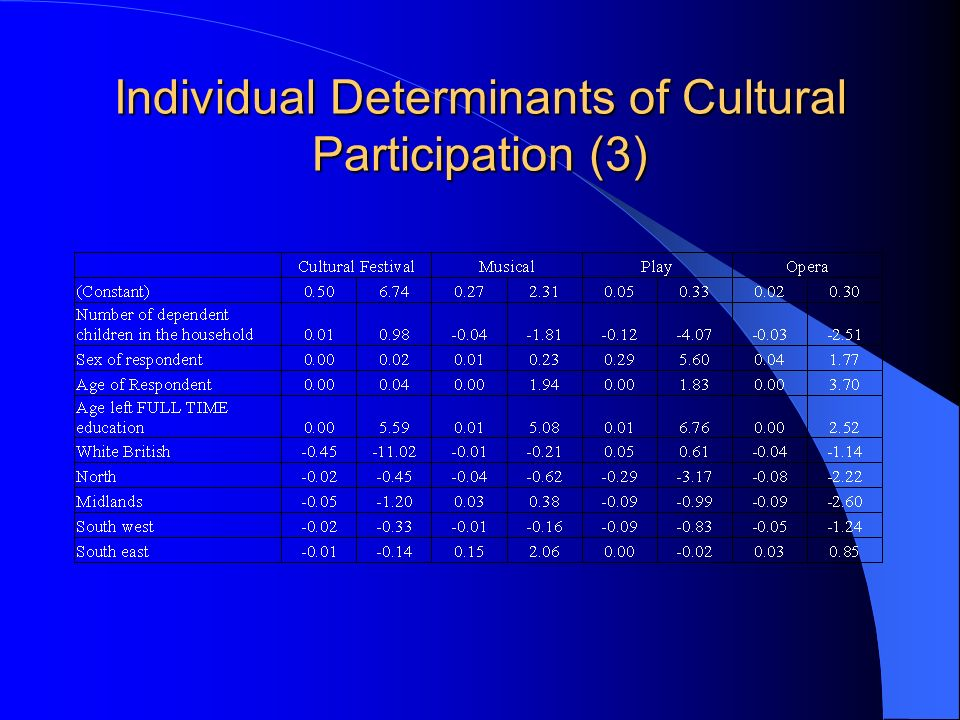 Individual Determinants of Cultural Participation (3)