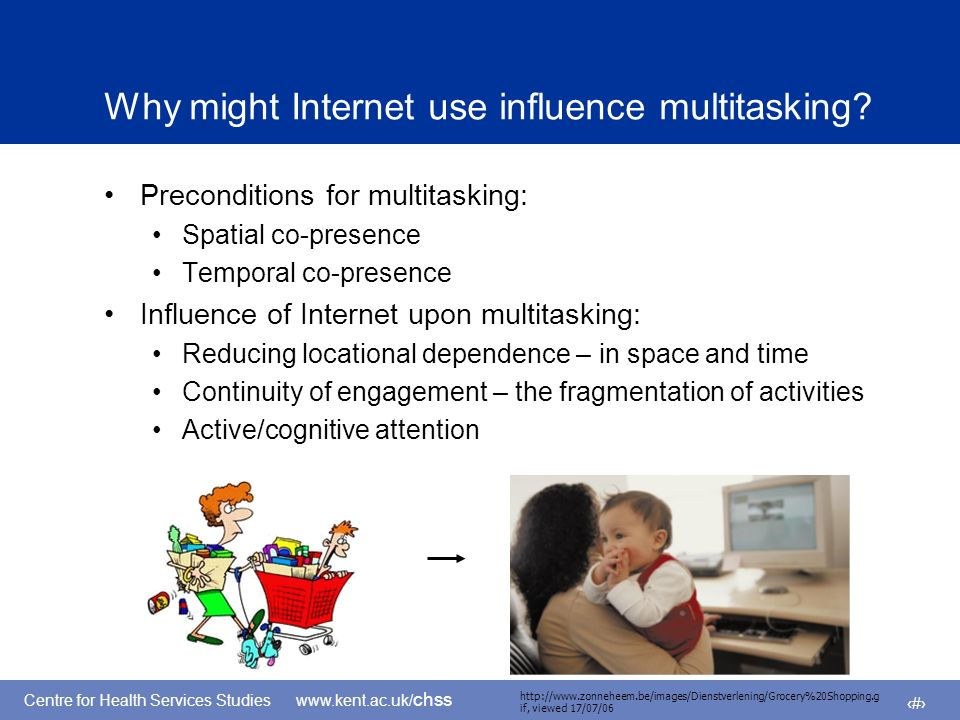 Centre for Health Services Studies www.kent.ac.uk/ chss 6 Why might Internet use influence multitasking.