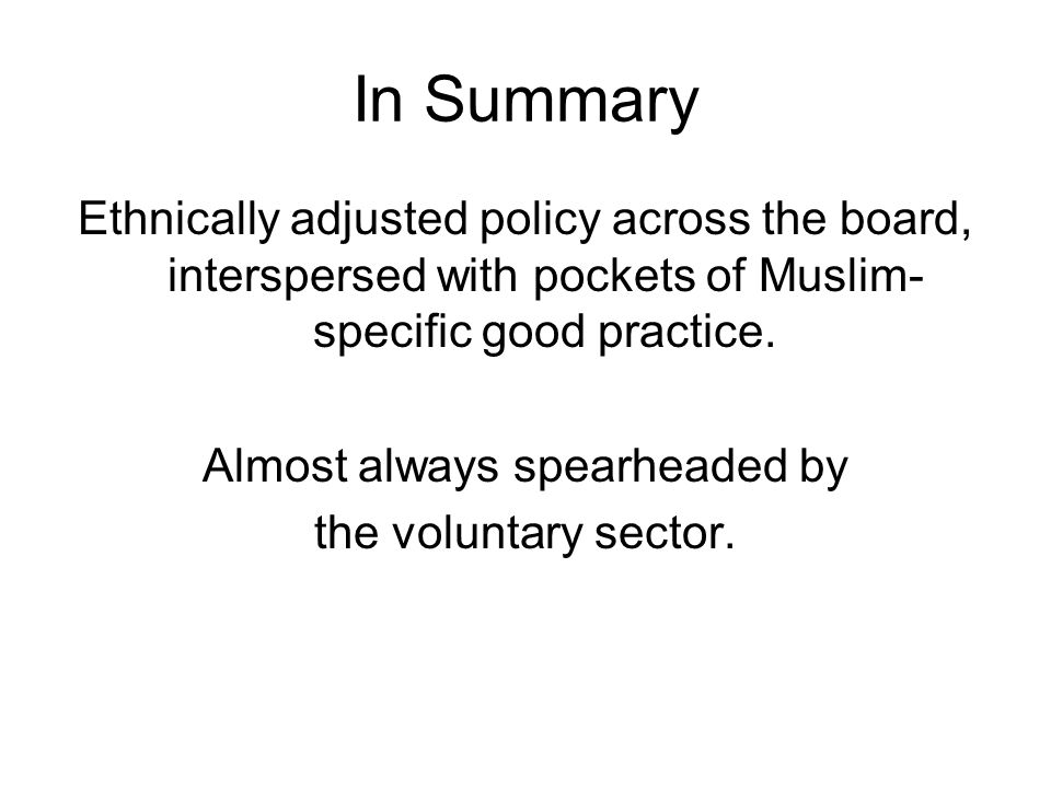 In Summary Ethnically adjusted policy across the board, interspersed with pockets of Muslim- specific good practice. Almost always spearheaded by the