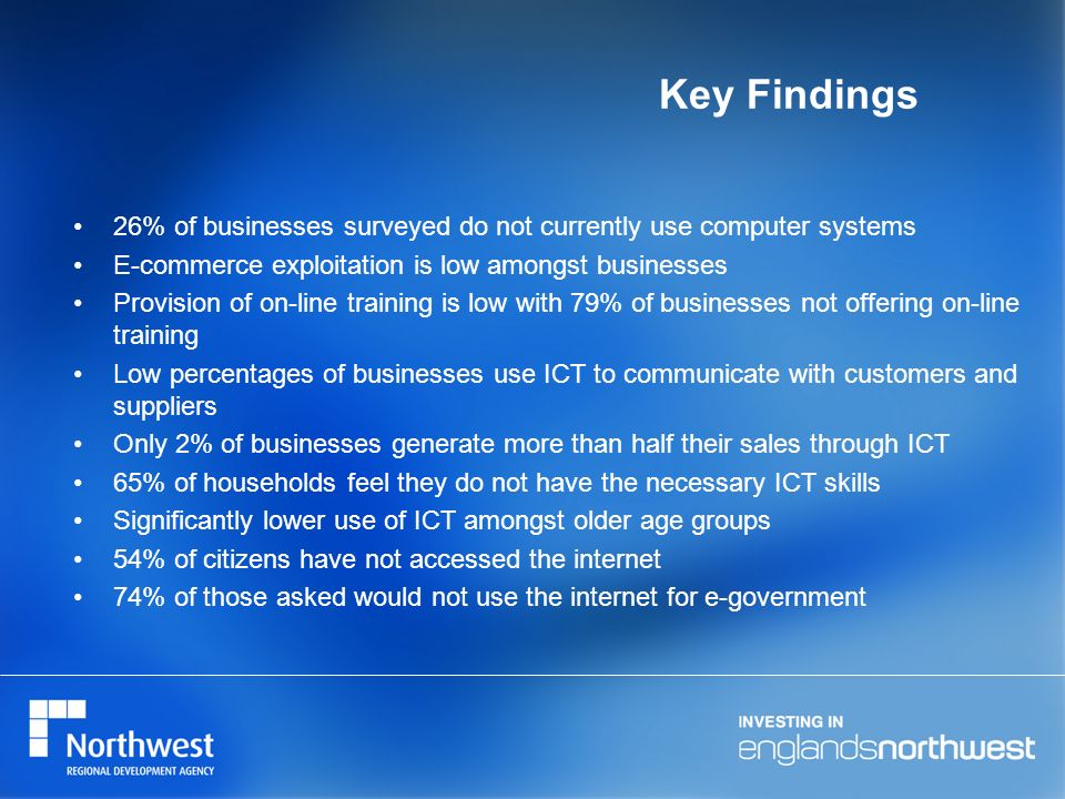 Key Findings 26% of businesses surveyed do not currently use computer systems E-commerce exploitation is low amongst businesses Provision of on-line training is low with 79% of businesses not offering on-line training Low percentages of businesses use ICT to communicate with customers and suppliers Only 2% of businesses generate more than half their sales through ICT 65% of households feel they do not have the necessary ICT skills Significantly lower use of ICT amongst older age groups 54% of citizens have not accessed the internet 74% of those asked would not use the internet for e-government