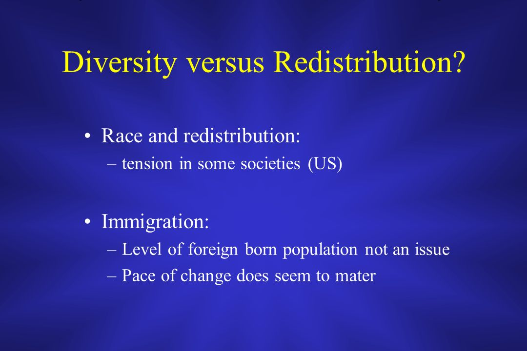 Diversity versus Redistribution? Race and redistribution: –tension in some societies (US) Immigration: –Level of foreign born population not an issue