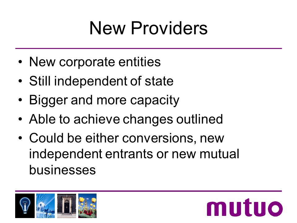 New Providers New corporate entities Still independent of state Bigger and more capacity Able to achieve changes outlined Could be either conversions, new independent entrants or new mutual businesses