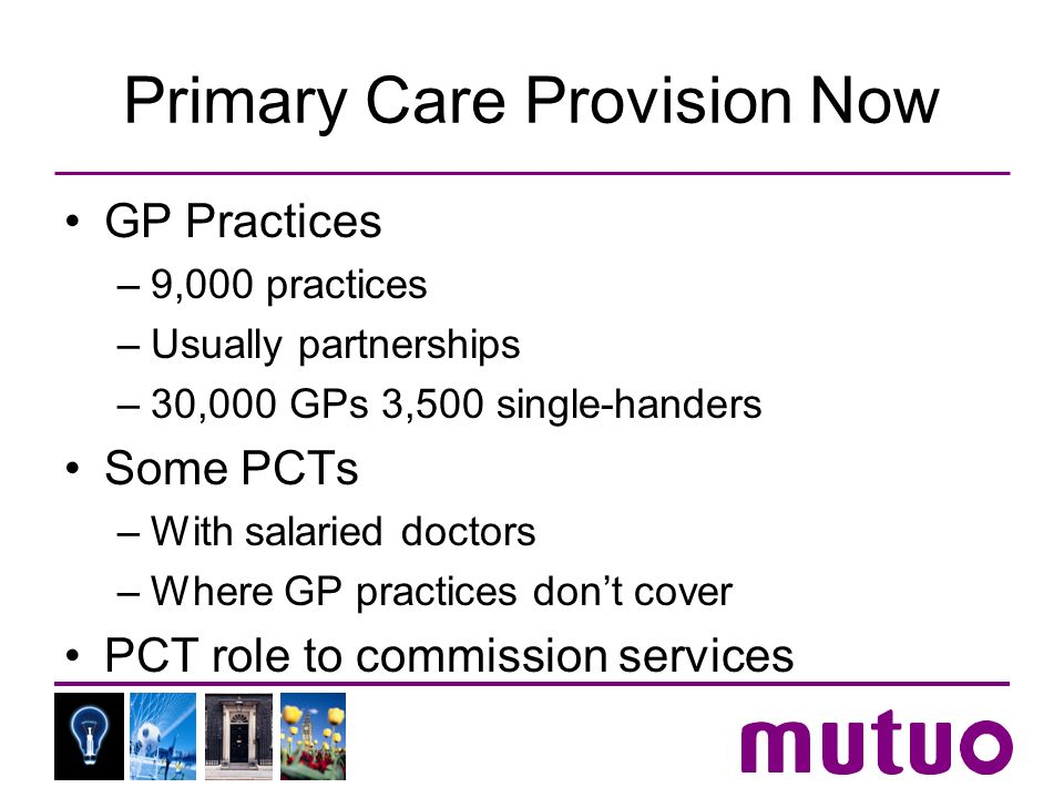 Primary Care Provision Now GP Practices –9,000 practices –Usually partnerships –30,000 GPs 3,500 single-handers Some PCTs –With salaried doctors –Where GP practices dont cover PCT role to commission services